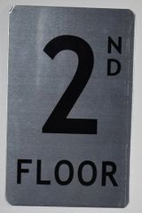 FLOOR NUMBER SIGN - 2ND FLOOR SIGN- BRUSHED ALUMINUM (ALUMINUM SIGNS 8X5)The Mont Argent Line