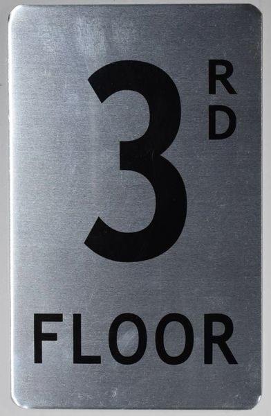 FLOOR NUMBER SIGN - 3RD FLOOR SIGN- BRUSHED ALUMINUM (ALUMINUM SIGNS 8X5)The Mont Argent Line