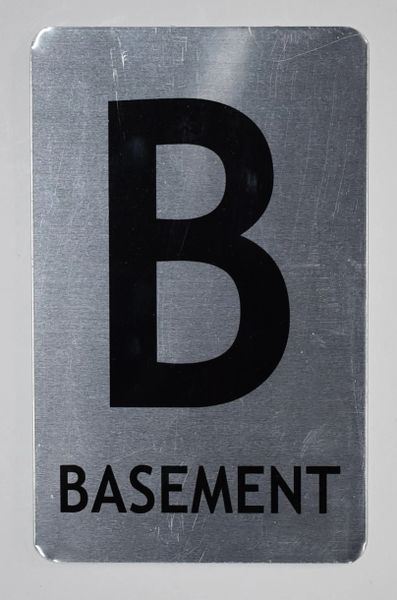 FLOOR NUMBER SIGN - BASEMENT SIGN- BRUSHED ALUMINUM (ALUMINUM SIGNS 8X5)- The Mont Argent Line