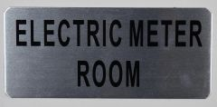 ELECTRIC METER ROOM SIGN - BRUSHED ALUMINUM (ALUMINUM SIGNS 3.5X8)