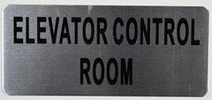 ELEVATOR CONTROL ROOM SIGN – BRUSHED ALUMINUM (ALUMINUM SIGNS 3.5x8)