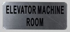 ELEVATOR MACHINE ROOM SIGN – BRUSHED ALUMINUM (ALUMINUM SIGNS 3.5X8)