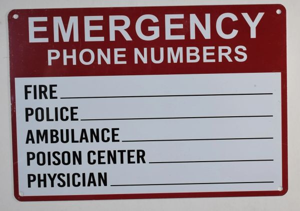 EMERGENCY PHONE NUMBERS SIGN - WHITE ALUMINUM (ALUMINUM SIGNS 7X10)
