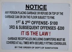 NOTICE ANY PERSON PLACING GARBAGE OR REFUSE SUBJECT TO FINE SIGN (ALUMINUM SIGNS 12X10)