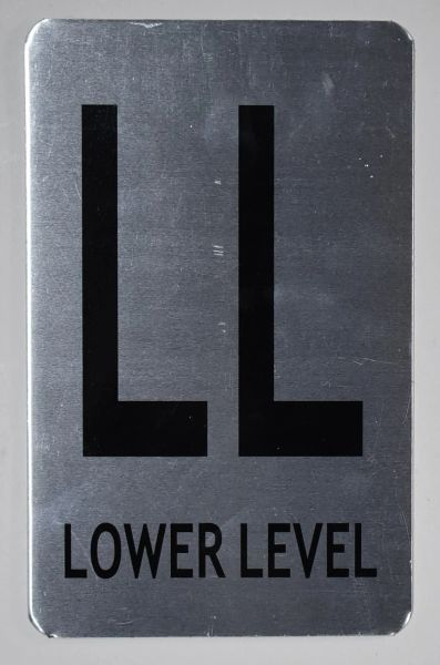 FLOOR NUMBER SIGN - LOWER LEVEL SIGN -BRUSHED ALUMINIUM (ALUMINUM SIGNS 8X5)- The Mont Argent Line