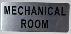 MECHANICAL ROOM SIGN - BRUSHED ALUMINUM (ALUMINUM SIGNS 3.5X8)- The Mont Argent Line
