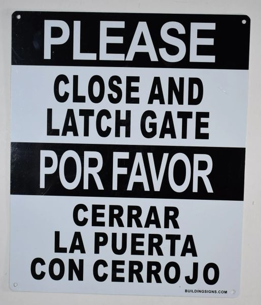 PLEASE CLOSE AND LATCH GATE SIGN- WHITE ALUMINUM (ALUMINUM SIGNS 12X10)