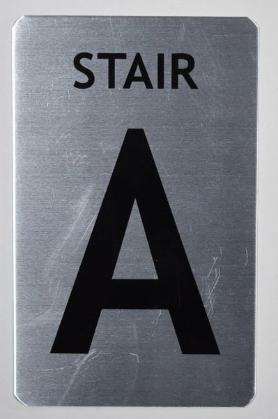 FLOOR NUMBER SIGN - STAIR A SIGN - BRUSHED ALUMINUM (ALUMINUM SIGNS 8X5)- The Mont Argent Line