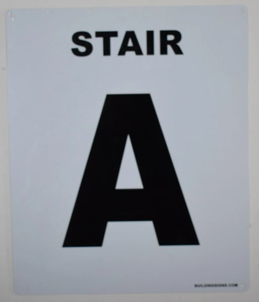 FLOOR NUMBER SIGN - STAIR A SIGN - WHITE (ALUMINUM SIGNS 12X10)