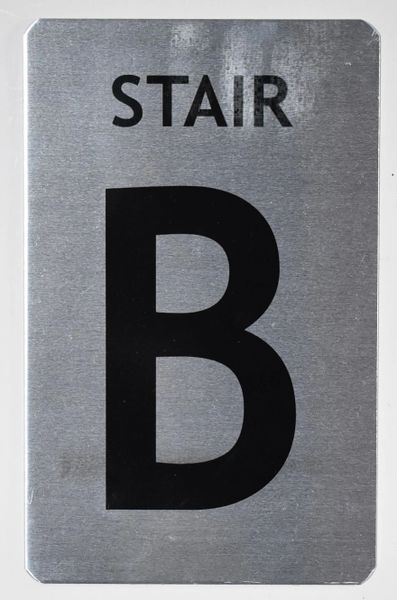 FLOOR NUMBER SIGN - STAIR B SIGN - BRUSHED ALUMINUM (ALUMINUM SIGNS 8X5)- The Mont Argent Line