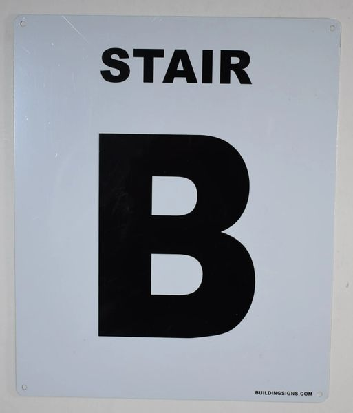 FLOOR NUMBER SIGN - STAIR B SIGN (White, Rust Free Aluminium 10X12)-Grand Canyon Line
