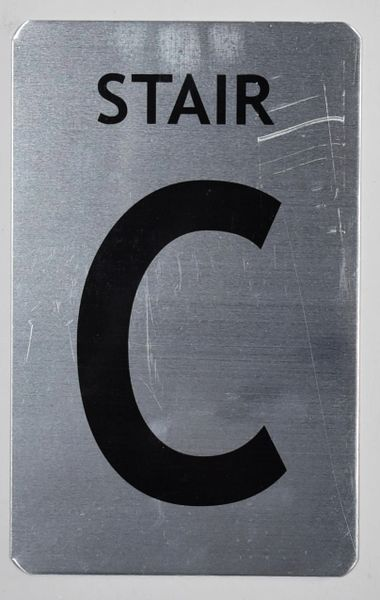 FLOOR NUMBER SIGN - STAIR C SIGN - BRUSHED ALUMINUM (ALUMINUM SIGNS 8X5)- The Mont Argent Line