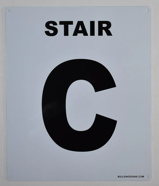 FLOOR NUMBER SIGN - STAIR C SIGN -(White, Rust Free Aluminium 10X12)-Grand Canyon Line
