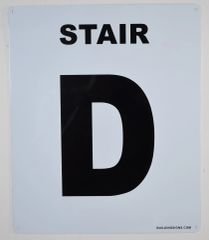 FLOOR NUMBER SIGN - STAIR D SIGN - WHITE (White, Rust Free Aluminium 10X12)-Grand Canyon Line