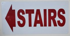 FLOOR NUMBER SIGN - STAIRS LEFT SIGN - WHITE ALUMINUM (ALUMINUM SIGNS 6X12)