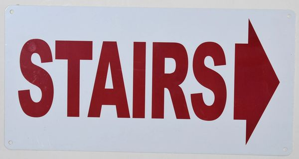 FLOOR NUMBER SIGN - STAIRS RIGHT SIGN - WHITE ALUMINUM (ALUMINUM SIGNS 6X12)