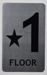 FLOOR NUMBER SIGN - STAR 1 FLOOR SIGN- BRUSHED ALUMINUM (ALUMINUM SIGNS 8X5)- The Mont Argent Line