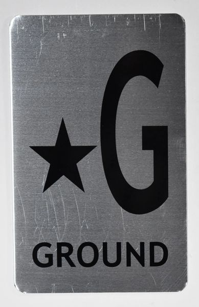 STAR G Ground floor SIGN - *G GROUND SIGN- BRUSHED ALUMINUM (ALUMINUM SIGNS 8X5)- The Mont Argent Line