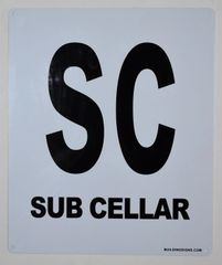 FLOOR NUMBER SIGN - SUB CELLAR SIGN(White, Rust Free Aluminium 10X12)-Grand Canyon Line