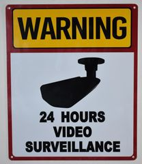 WARNING 24 HOURS VIDEO SURVEILLANCE SIGN - WHITE (ALUMINUM SIGNS 12X10)