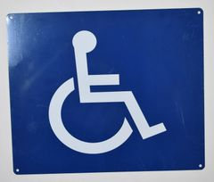 WHEELCHAIR ACCESS SIGN- BLUE BACKGROUND (ALUMINUM SIGNS 10X12)
