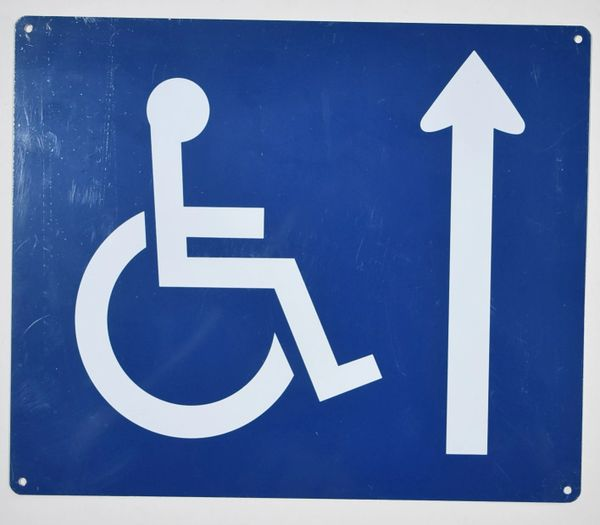 WHEELCHAIR ACCESS AHEAD SIGN- BLUE BACKGROUND (ALUMINUM SIGNS 10X12)