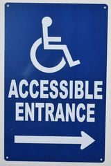 Accessible Entrance RIGHT Sign- BLUE (ALUMINUM SIGNS 14X9)