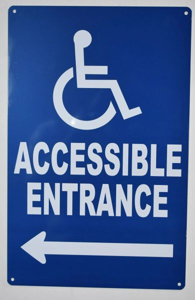 Accessible Entrance left Sign- BLUE (ALUMINUM SIGNS 14X9)