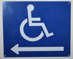 WHEELCHAIR ACCESS LEFT SIGN- BLUE BACKGROUND (ALUMINUM SIGNS 10X12)