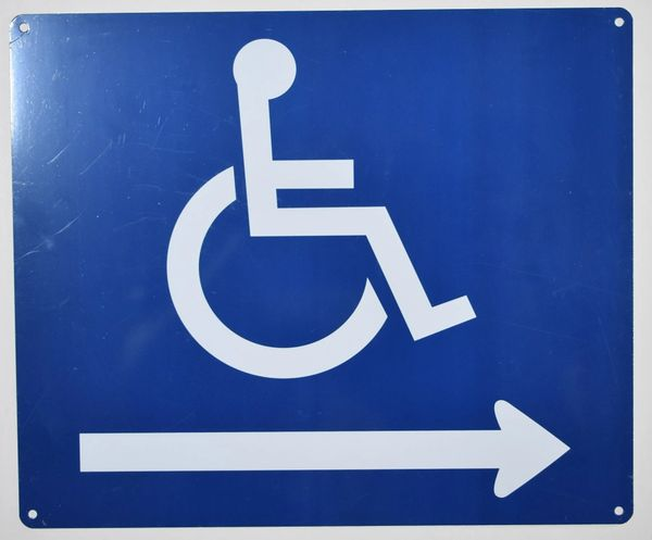 WHEELCHAIR ACCESS RIGHT SIGN- BLUE BACKGROUND (ALUMINUM SIGNS 10X12)