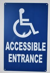ACCESSIBLE ENTRANCE SIGN- BLUE BACKGROUND (ALUMINUM SIGNS 14X9)