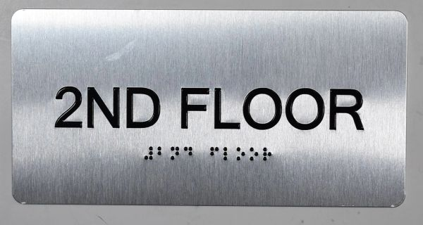 2ND FLOOR SIGN- BRAILLE (ALUMINUM SIGNS 4X8)- The Sensation line