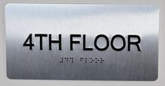 NYC HPD FLOOR NUMBER FOUR (4) SIGN (BRUSHED ALUMINUM, 5.75''X4'')
