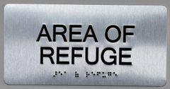AREA OF REFUGE SIGN- BRAILLE (ALUMINUM SIGNS 4X8)- The Sensation line
