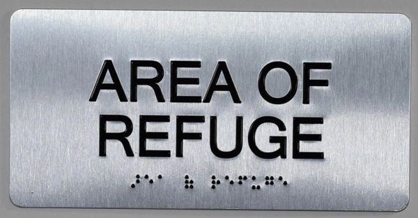 AREA OF REFUGE SIGN- BRAILLE (ALUMINUM SIGNS 4X8)- The Sensation line