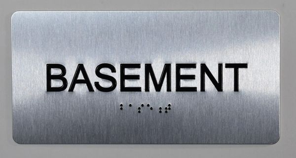 BASEMENT SIGN- BRAILLE (ALUMINUM SIGNS 4X8)- The Sensation line
