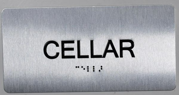 CELLAR SIGN- BRAILLE (ALUMINUM SIGNS 4X8)- The Sensation line