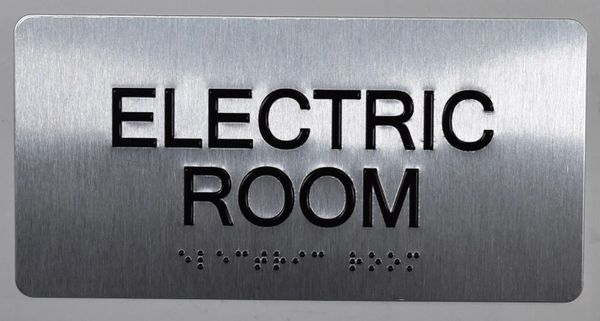 ELECTRIC ROOM Sign- BRAILLE (ALUMINUM SIGNS 4X8)- The Sensation line