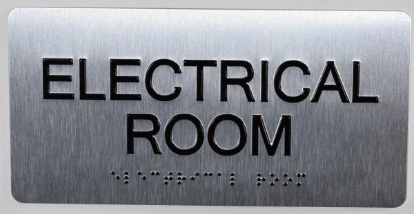 ELECTRICAL ROOM Sign- BRAILLE (ALUMINUM SIGNS 4X8)- The Sensation line