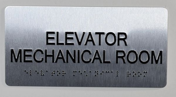 ELEVATOR MECHANICAL ROOM Sign- BRAILLE (ALUMINUM SIGNS 4X8)- The Sensation line