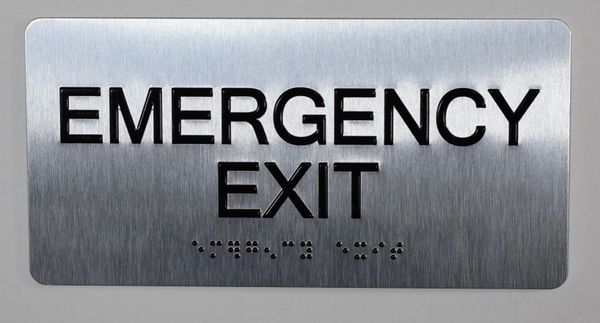 Emergency EXIT SIGN- BRAILLE (ALUMINUM SIGNS 4X8)- The Sensation line