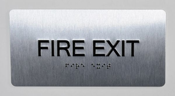 FIRE EXIT SIGN- BRAILLE (ALUMINUM SIGNS 4X8)- The Sensation line