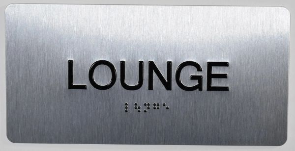 LOUNGE Sign- BRAILLE (ALUMINUM SIGNS 4X8)- The Sensation line