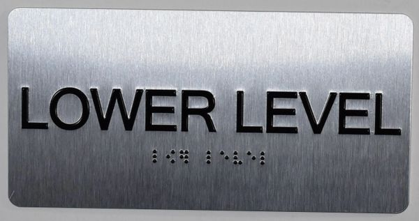 LOWER LEVEL SIGN- BRAILLE (ALUMINUM SIGNS 4X8)- The Sensation line