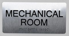 Mechanical Room Sign- BRAILLE (ALUMINUM SIGNS 4X8)- The Sensation line