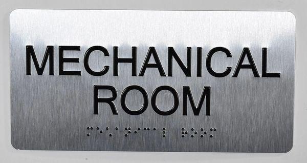 Mechanical Room Sign- BRAILLE (ALUMINUM SIGNS 4X8)- The Sensation line