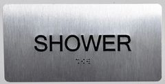 SHOWER SIGN- BRAILLE (ALUMINUM SIGNS 4X8)- The Sensation line