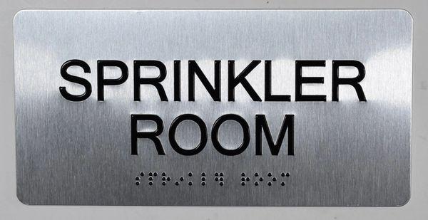 Sprinkler Room SIGN- BRAILLE (ALUMINUM SIGNS 4X8)- The Sensation line