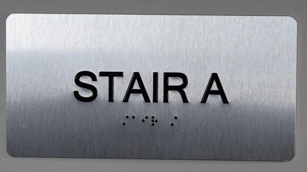 STAIR A SIGN- BRAILLE (ALUMINUM SIGNS 4X8)- The Sensation line