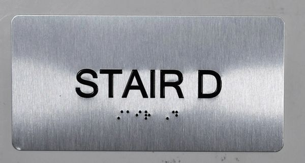 STAIR D SIGN- BRAILLE (ALUMINUM SIGNS 4X8)- The Sensation line